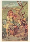 Osterhase mit Mädcher auf dem Weg. Altes Motiv um 1900. KK